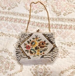 Vintage hand beaded floral beautiful small handbag